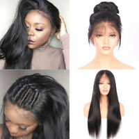22Inch Women Brazilian Human Hair Wigs Virgin Full Lace Glueless Front Hairpiece