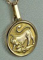 "Vintage Original Soviet Rose Gold Pendant Zodiac Sign "" Taurus"" 583 14KT"