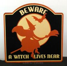Halloween Retro Sign  Wall Hanging BEWARE! A WITCH LIVES NEAR plaque metal new