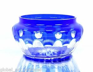Rare Antique Old Cut Glass Beautiful Blue Color Collectible Bowl. G16-124 US
