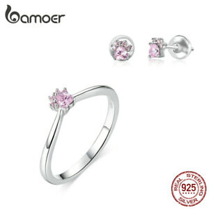 BAMOER S925 Sterling silver Set Jewelry Ring Earrings with Pink CZ For Women