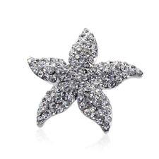 Hand Made Hair Jewelry swarovski crystal Starfish Hair Barrettes White