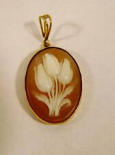 Vintage Carved Floral Cameo Pendant 14K .585 Yellow Gold Mount Exc Cond