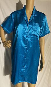Vintage Secret Treasures Satin Sleepshirt Style Nightgown Blue L?