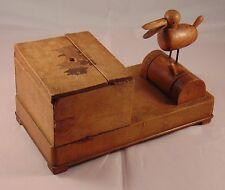 Vintage Treen Wooden Bird Figure Animated Cigarette Box & Dispenser