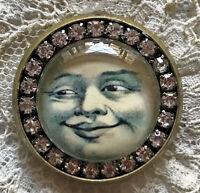 MY SWEETHEART Glass Rhinestone BROOCH Lapel Scatter Pin Vintage Valentine Card