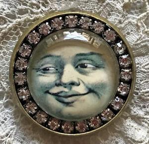 "MAN IN THE MOON Glass Rhinestone BROOCH Lapel Scatter Pin Vintage Halloween 1"""