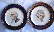 VTG Pair George & Martha Washington Plates - 22k Gold Capsco Capitol Souvenir Co