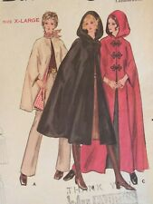 Fab VTG 70s BUTTERICK 5741 Wmns Hood Option Capes in 3 lengths PATTERN XL/42-44B