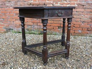 17th Century English Antique Oak Side Table of Canted Form, Circa 1680