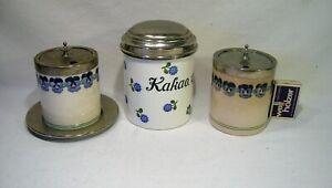2 Marmeladendosen; 1 x Kakaodose; Jugendstil; WMF; Wächtersbach; Stiefmütterchen