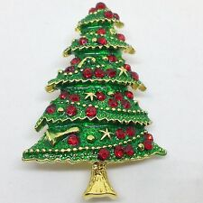 CHRISTMAS TREE BROOCH PIN Red Crystal Rhinestone Green Enamel Gold Tone Garland