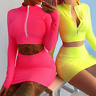 Women's Top + Mini Skirt Set Two Piece Long Sleeve Crop Outfit Clubwear Fashion