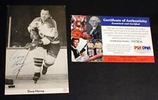 Vintage 1962-63 New York Rangers Canadiens Doug Harvey Signed Postcard PSA DNA!