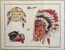 "Tattoo Studio Shop Flash Single By Eric Iovino Native American 11""X14"" Print"