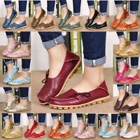 Fashion Womens Comfort Solid Color Leather Shoes Flat Up Casual Anti-slip Loafer