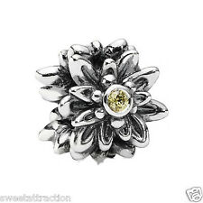 New Authentic Pandora Charm Edelweiss Yellow Bead 791176CZY W Tag & Suede Pouch