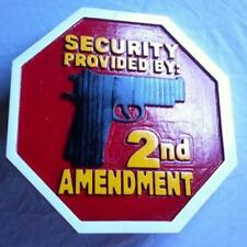 2nd Second Amendment Security Sign 3D routed carved wood sign plaque Custom