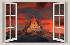 WALL STICKER ADESIVI MURALI Monte Cervino Svizzera Trompe L'oeil finestra natura