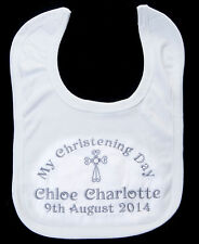 PERSONALISED CHRISTENING DAY BABY BIB NAME AND DATE baby girl boy gift BAPTISM