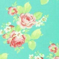 Cottage Shabby Chic Tanya Whelan Lola Roses Cotton Fabric PWTW104-Aqua Blue BTY
