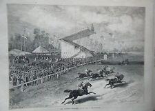 GRAVURE SUR BOIS 19ème LES COURSES D' ENGHIEN LE 23 JUIN 1876