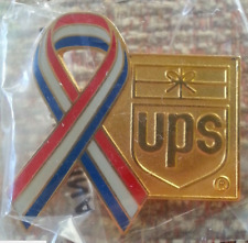 United Parcel Service (gold) Red, White, & Blue Ribbon with UPS Logo Lapel Pin