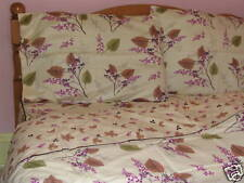 Cotton Queen Size Floral Duvet Cover Sheet Set Brown Violet Cream Sage 4pc