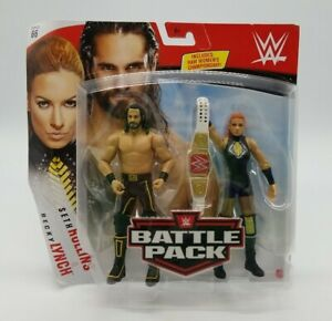 WWE Battle Pack Seth Rollins / Becky Lynch with RAW Womens Title Belt New in Box