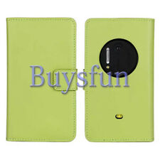 Bfun Green Genuine Real Leather Card Slot Wallet Case Cover For Nokia Lumia 1020