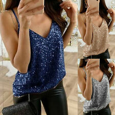 Womens Sequinned Party Top Size 8 10 12 14 16 18 20 22 24 New Ladies Gold Cap sl