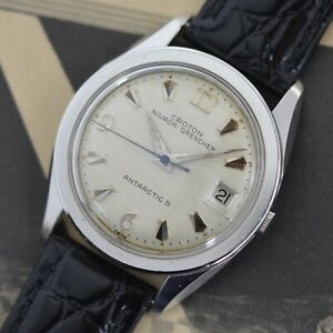 Vintage Croton Nivada Grenchen Antarctic D Linen Dial Stainless Steel
