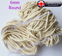 6mm 100% Pure Natural Cotton Rope 3Strand Braided Twisted Craft Cord Sash Twine