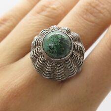 Israel Vtg 925 Sterling Silver Natural Eilat Gemstone Adjustable Ring Size 9