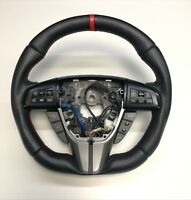 FLAT BOTTOM STEERING WHEEL MAZDA 3 2GEN ! CUSTOM NEW LEATHER D SHAPE