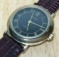 Vintage POLJOT Men Lady Gold Tone Black Roman Analog Quartz Watch Hours~New Batt