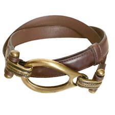 Elegant Brass Buckle Boho Brown Leather Belt Womens Size M/L Custom Fit NEW