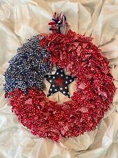 "Large Handmade American Flag Rag Wreath 25"" AMERICANA CRAFT!"