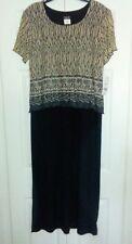 Helene Blake Womens Long Maxi Dress Cap Slve Black Beige Gry Layered Top 12 NWT