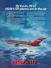 1984 US Air Airways Flying Plane 747 Jet Fleet Original Vintage Print AD