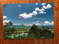 Folded Brocade Hill Lin Lin Unused New China Postcard Guang Xi Fine Arts Publ.