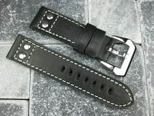 24mm Aviation PILOT Style Button Leather Strap Rivet Band Black NAVITIMER 24 mm