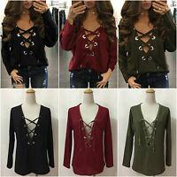 Women Casual Long Sleeve Lace-up Plunge V Neck Loose Chiffon T-Shirt Blouse Tops