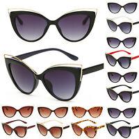 Damen Vintage Sonnenbrille Brille Retro UV Katzenaugen Große Rahmen Verspiegelt