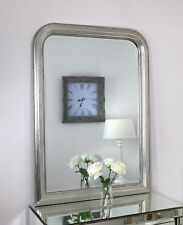 "Ariano Silver Shabby Chic Arch Beaded Wall Mirror 45"" x 33"" V Large"