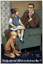 More details for w95 vintage wwi british what did you do in the war daddy poster ww1 a1 a2 a3