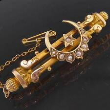 Original c1880 Antique Solid 9K Yellow GOLD CRESCENT MOON SEED PEARL BAR BROOCH