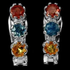 GENUINE MULTI COLOR SAPPHIRE ROUND STERLING 925 SILVER DROP EARRING