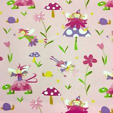 Fryett's Children's Fairies Wonderland Fabric, 137cm Wide, 100% Cotton Pink