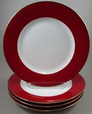 TWO Crate & Barrel Monno Cranberry / Red Band Dinner Plates